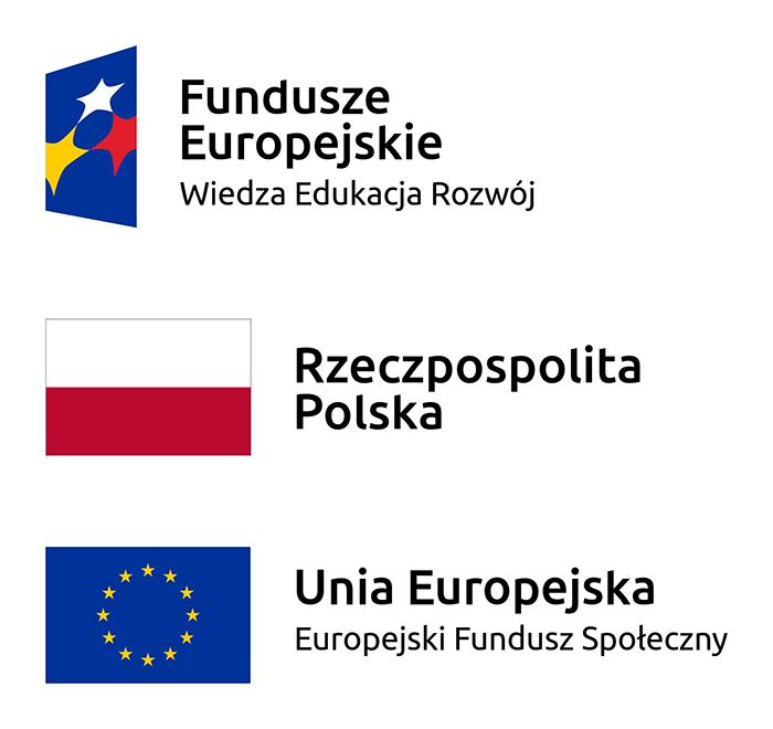 Logotypy: Fundusze Europejskie: Wiedza - Edukacja - Rozwój. Rzeczpospolita Polska. Unia Europejska - Eurpoejski Fundusz Spójności